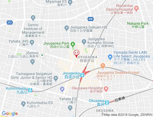 BLUE BOOKS cafe JIYUGAOKA / ブルーブックスカフェ自由が丘の地図 - クリックで大きく表示します